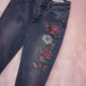 Wishlist floral embroidery skinny jeans